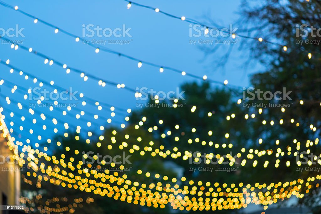 Bokeh Rope Light  in Parking Lot Alley - Uptown stock photo