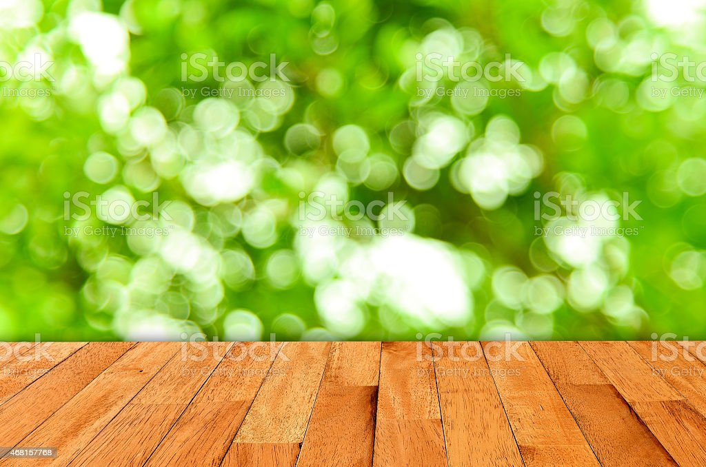Bokeh wall and wooden stock photo