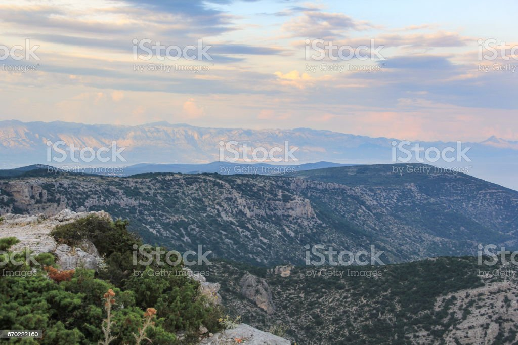 Bol Brac island viewed from above, during sunset stock photo