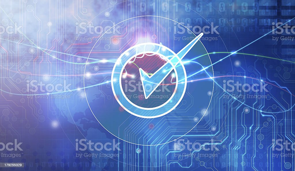 Bold blue graphic art with check mark in concentric circles royalty-free stock photo