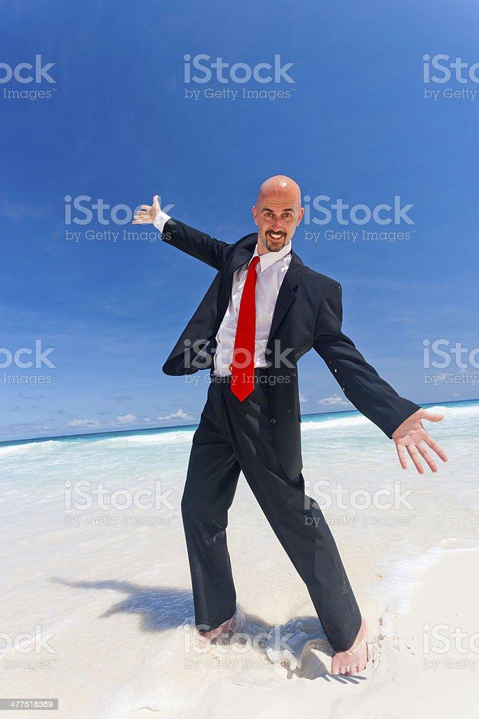 bold businessman beaming with joy royalty-free stock photo
