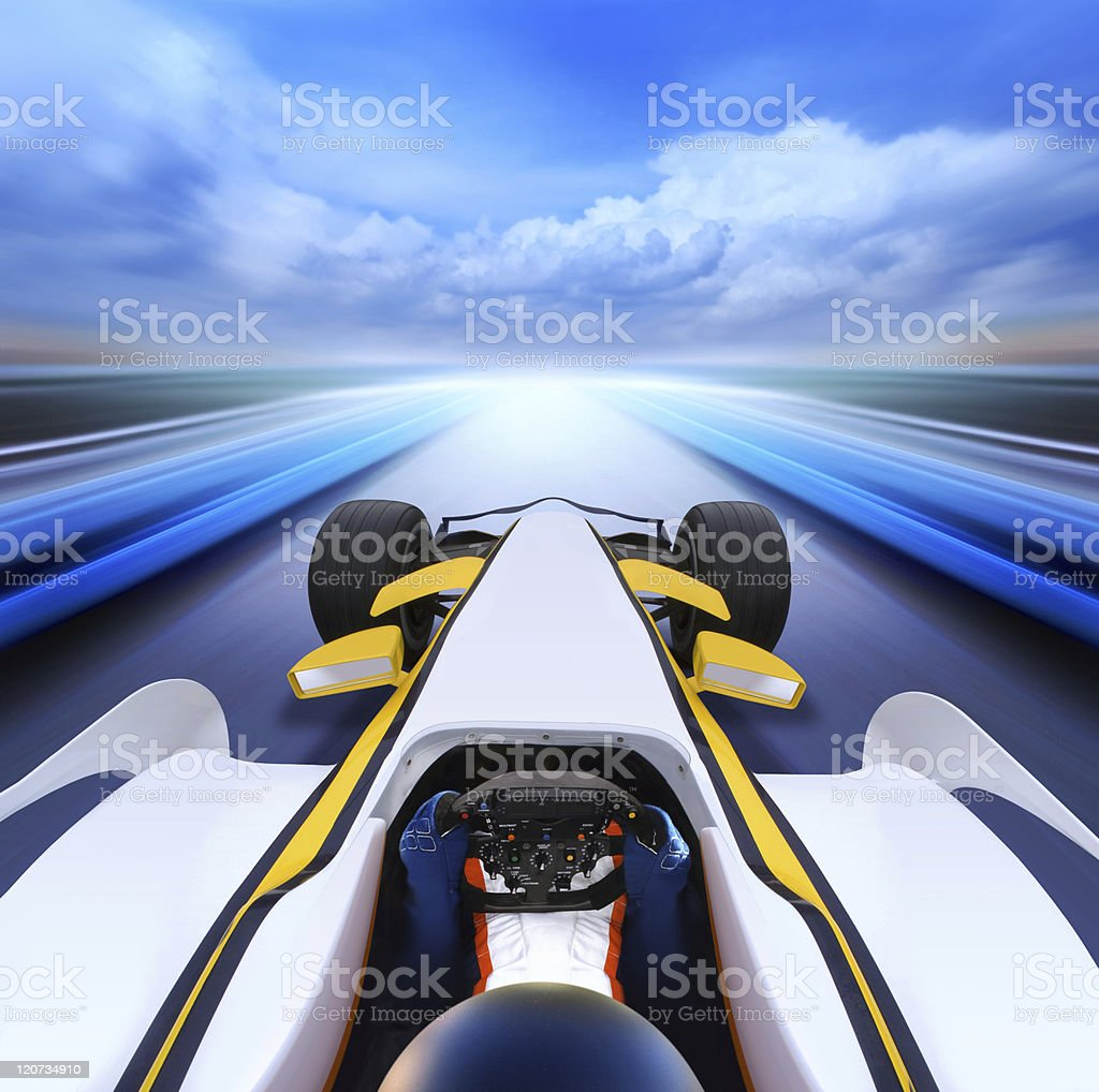 bolide on high-speed road stock photo