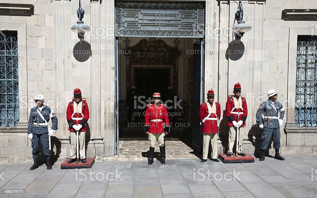 Boliivian guards at palace entrance royalty-free stock photo