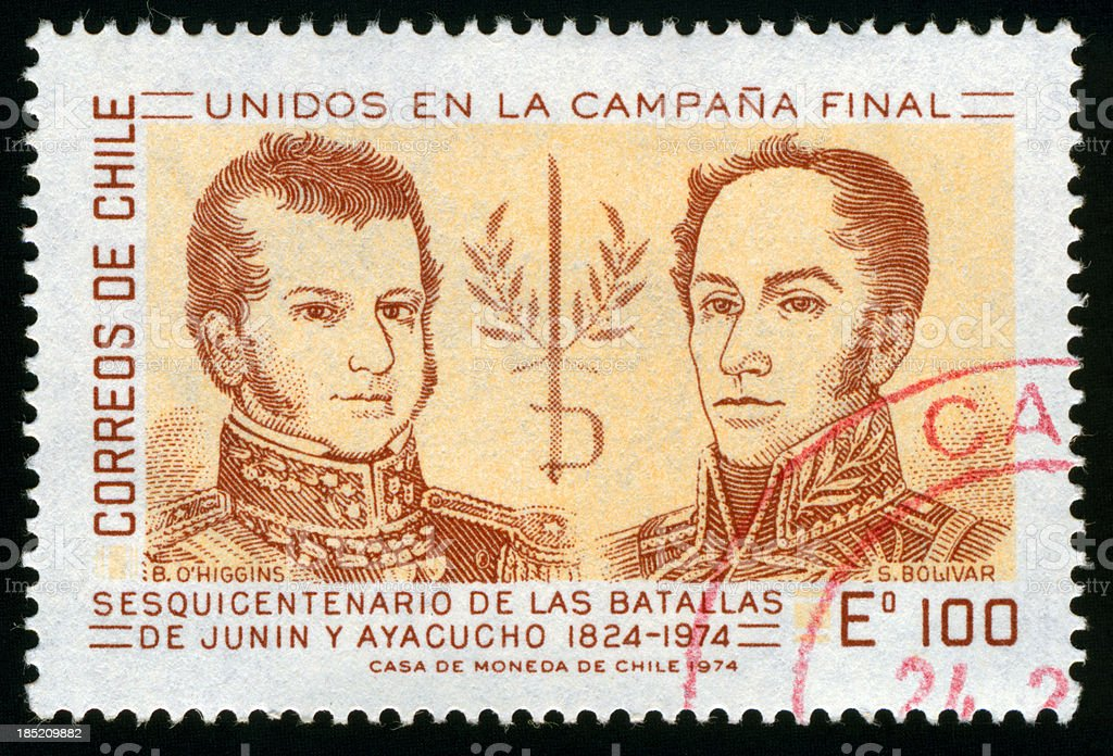 Bolivar and O'Higgins Stamp, Chile stock photo