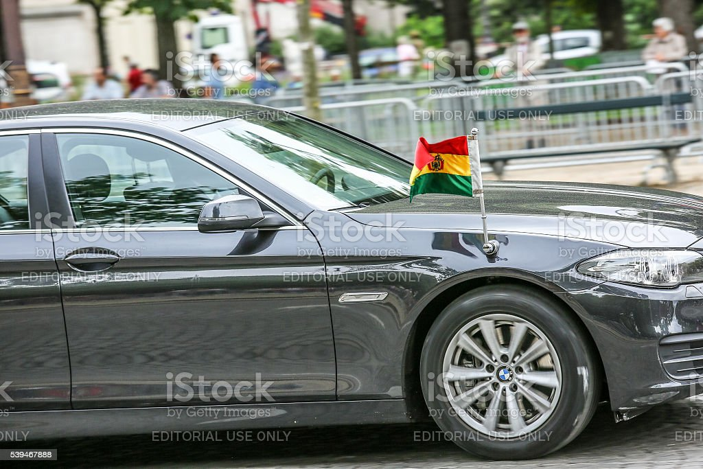 Bolivia Diplomatic car during Military parade stock photo