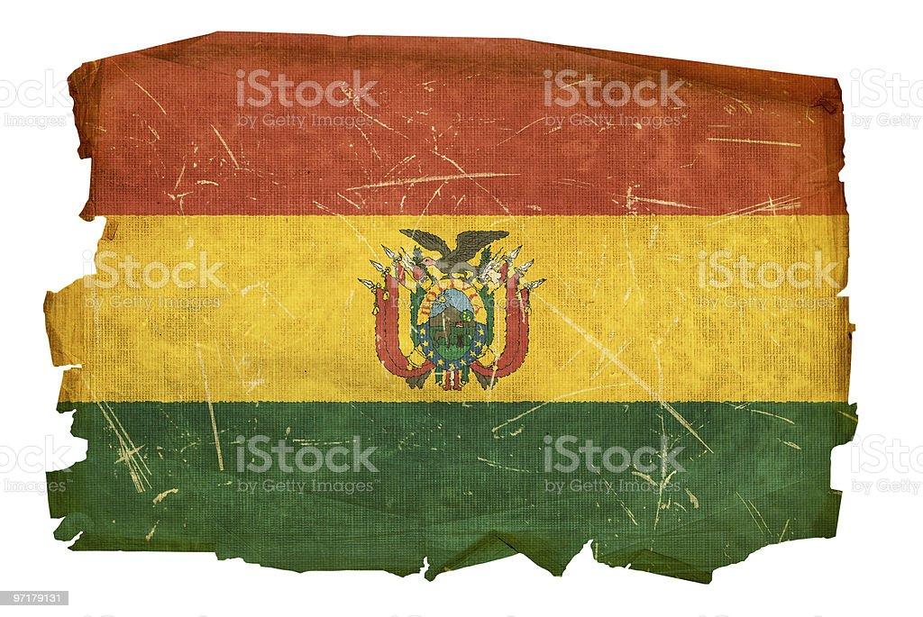 Bolivia Flag old, isolated on white background. stock photo