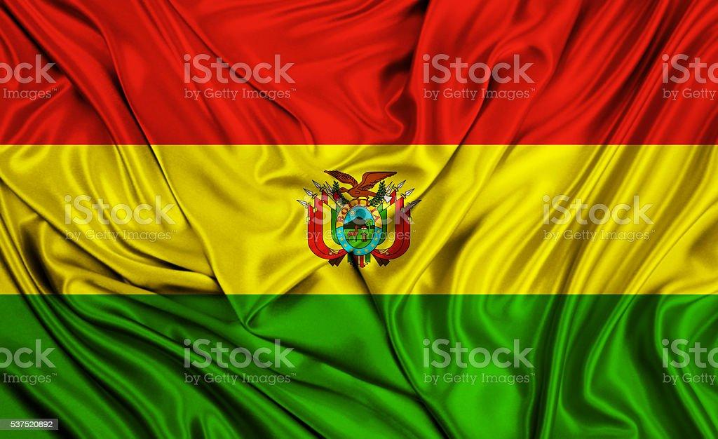 Bolivia flag - silk texture stock photo