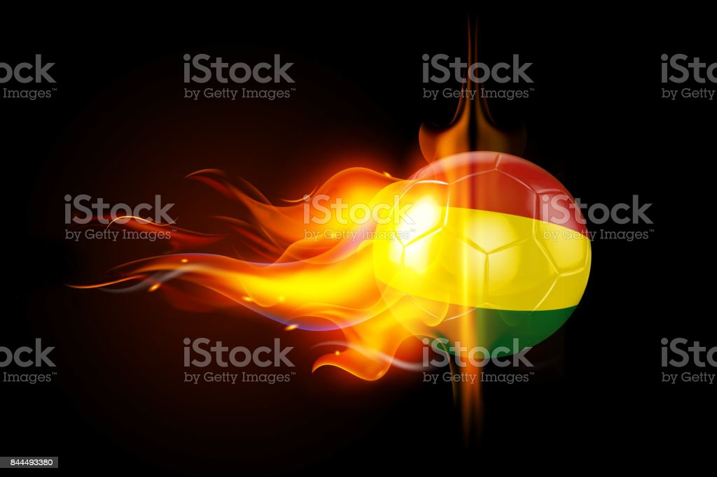 Bolivia Soccer Ball is Burning in Flames on Black stock photo