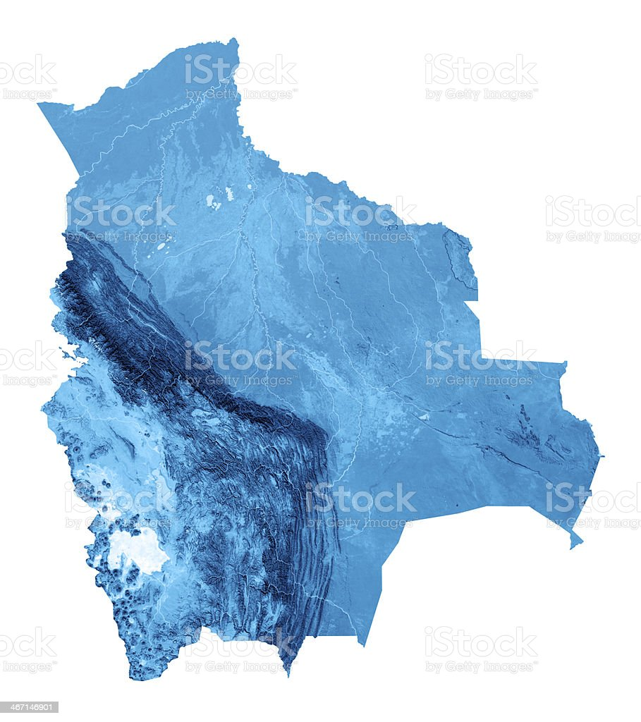 Bolivia Topographic Map Isolated royalty-free stock photo