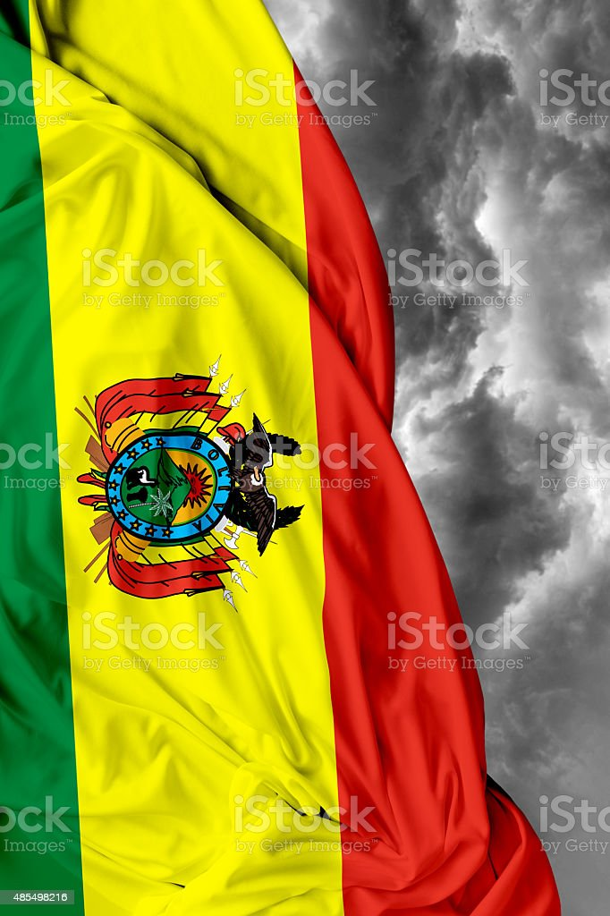 Bolivia waving flag on bad day stock photo