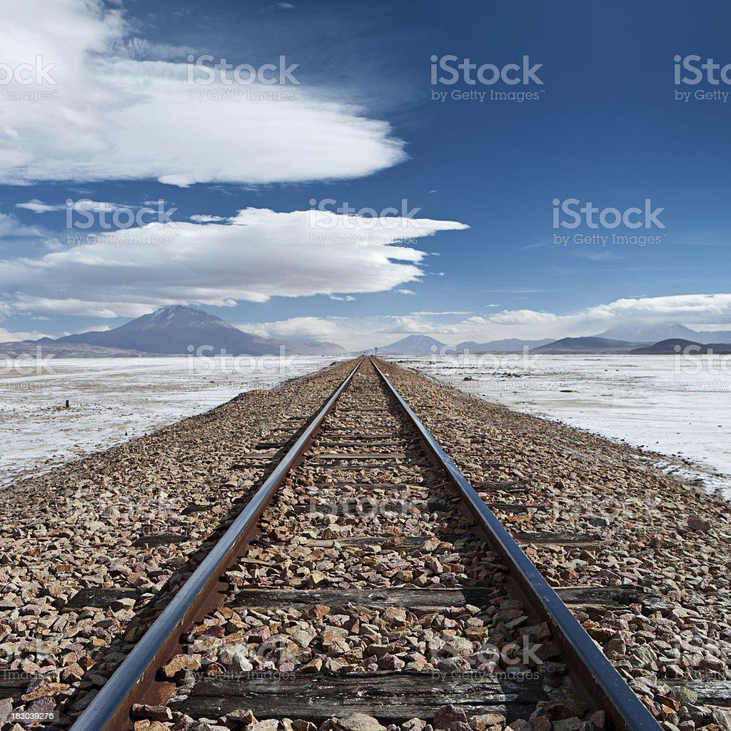 Bolivian altiplano - railroad track to Chile royalty-free stock photo