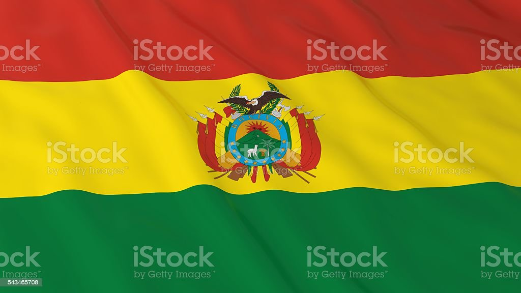 Bolivian Flag HD Background - Flag of Bolivia 3D Illustration stock photo