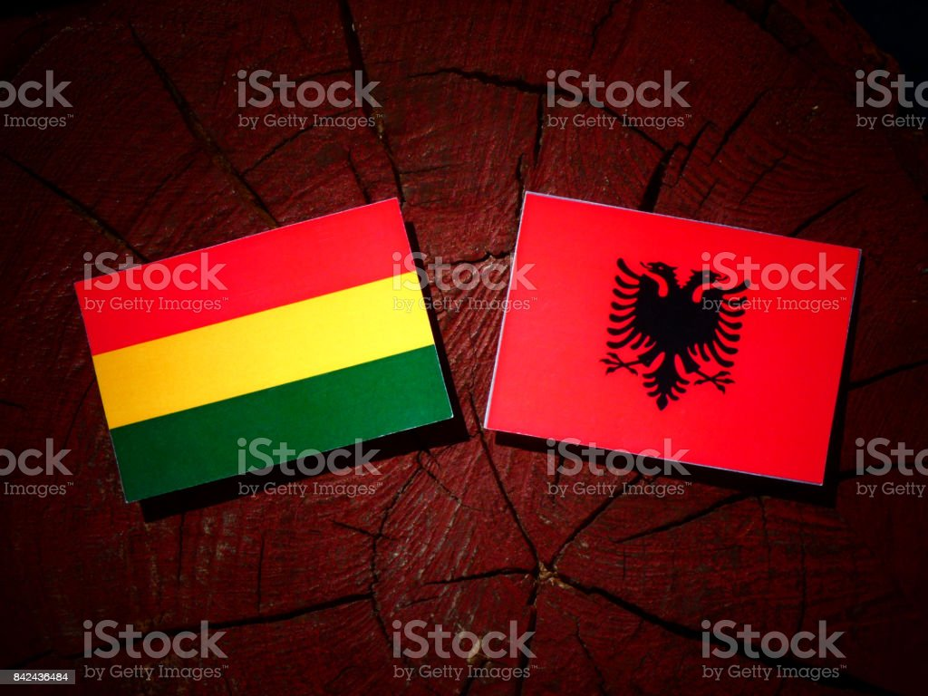 Bolivian flag with Albanian flag on a tree stump isolated stock photo
