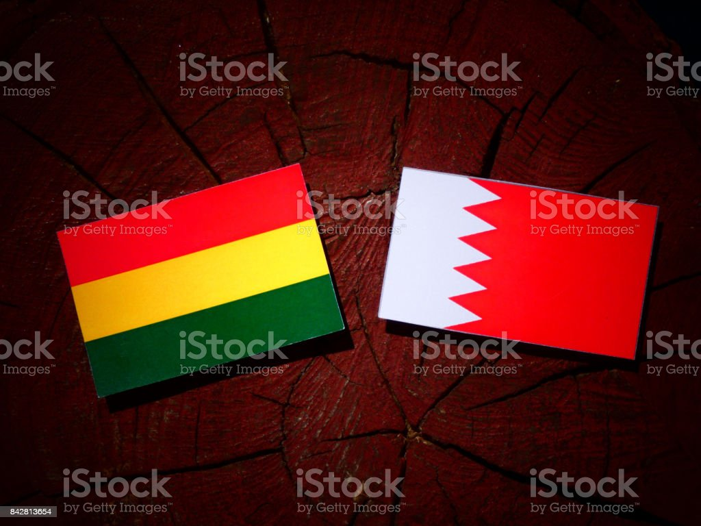 Bolivian flag with Bahraini flag on a tree stump isolated stock photo