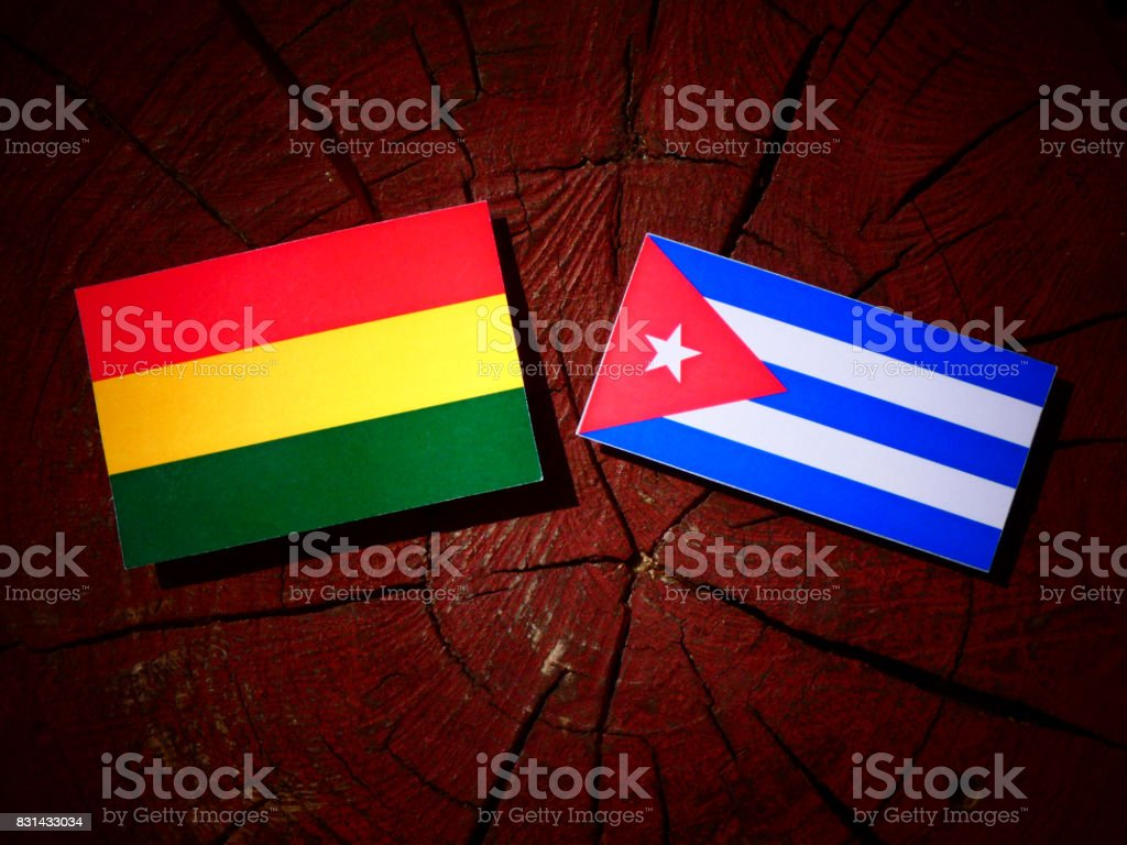 Bolivian flag with Cuban flag on a tree stump isolated stock photo
