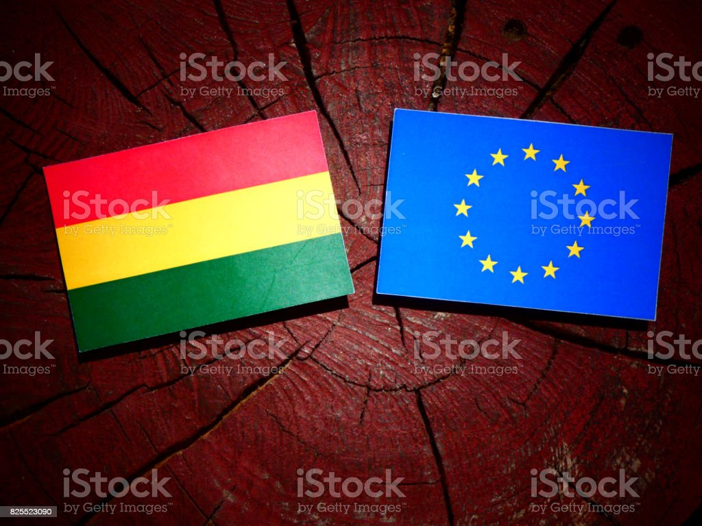 Bolivian flag with EU flag on a tree stump isolated stock photo