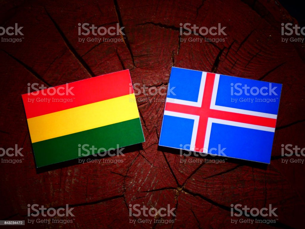 Bolivian flag with Icelandic flag on a tree stump isolated stock photo