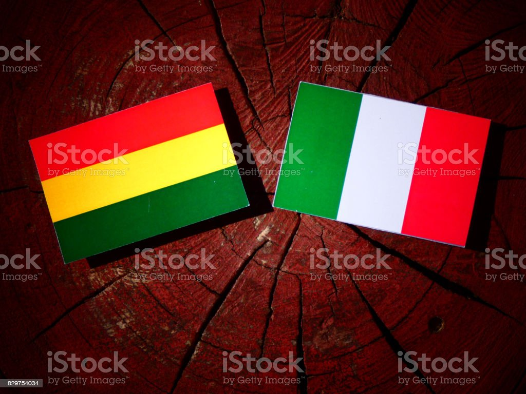 Bolivian flag with Italian flag on a tree stump isolated stock photo