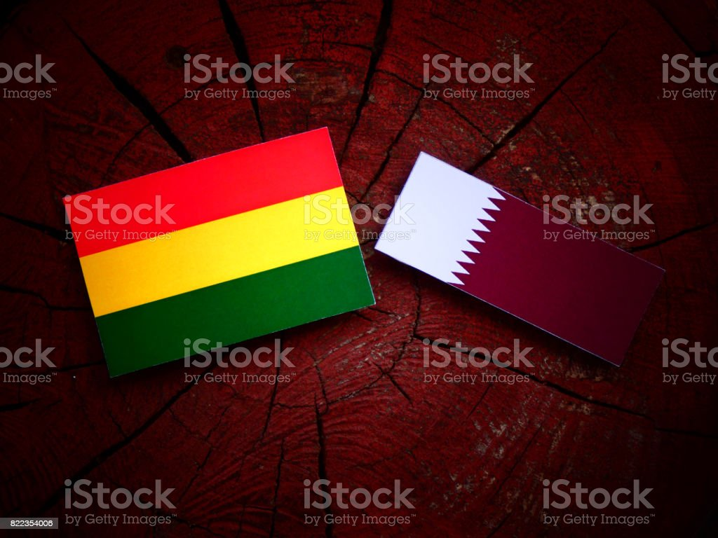 Bolivian flag with Qatari flag on a tree stump isolated stock photo