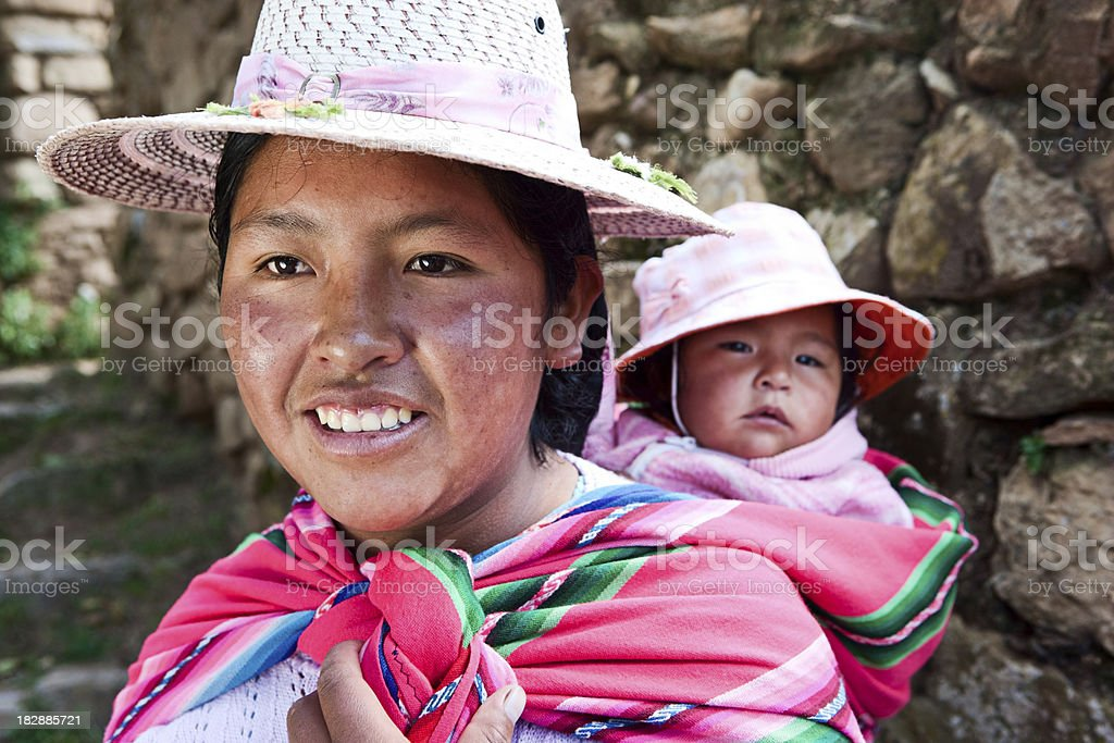 Bolivian woman carrying her baby, Isla del Sol, Bolivia royalty-free stock photo