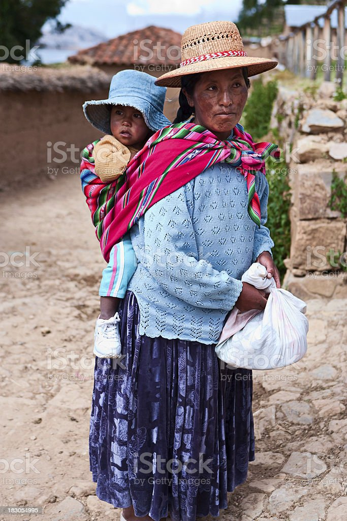 Bolivian Woman Carrying Her Baby Isla Del Sol Bolivia ...