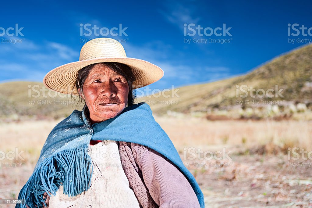 Bolivian woman in national clothing, Oruro, Bolivia royalty-free stock photo
