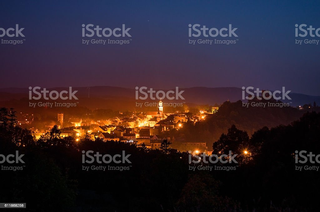 Bolkow Town in Poland at Night stock photo