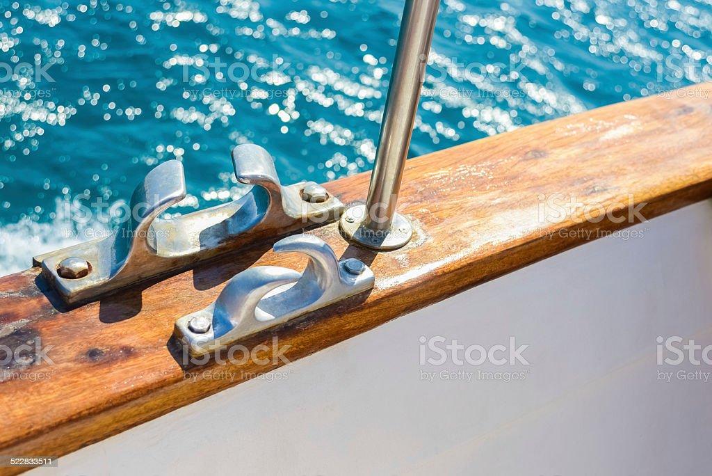 bollard on yacht stock photo
