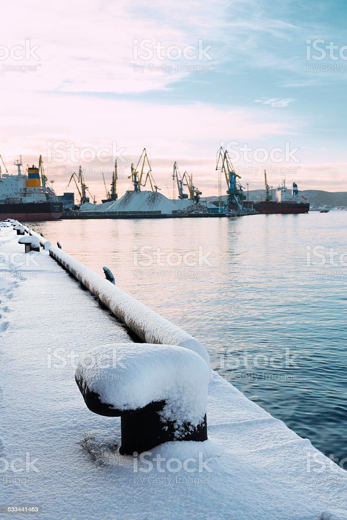 Bollards, snow, port. stock photo