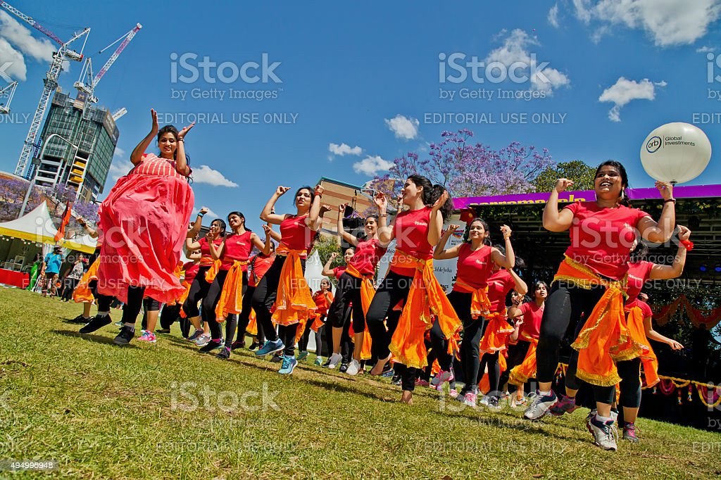 Bollywood dancers at a multicultural festival in Sydney stock photo