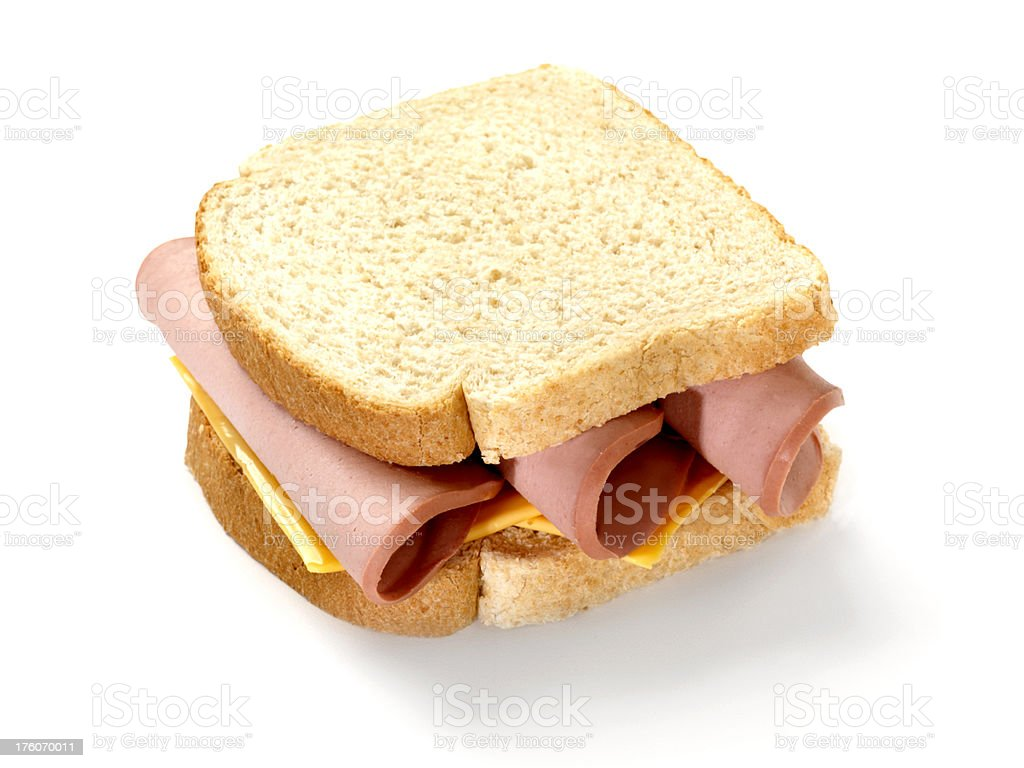 Bologna and Cheese Sandwich from Above stock photo