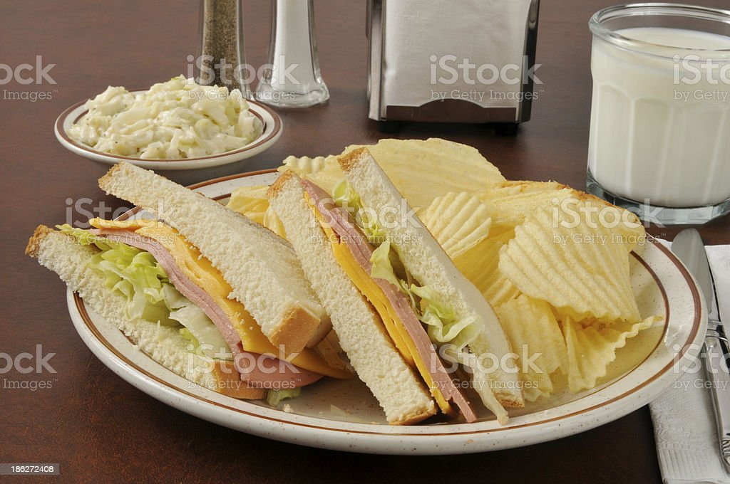 Bologna and cheese sandwich stock photo
