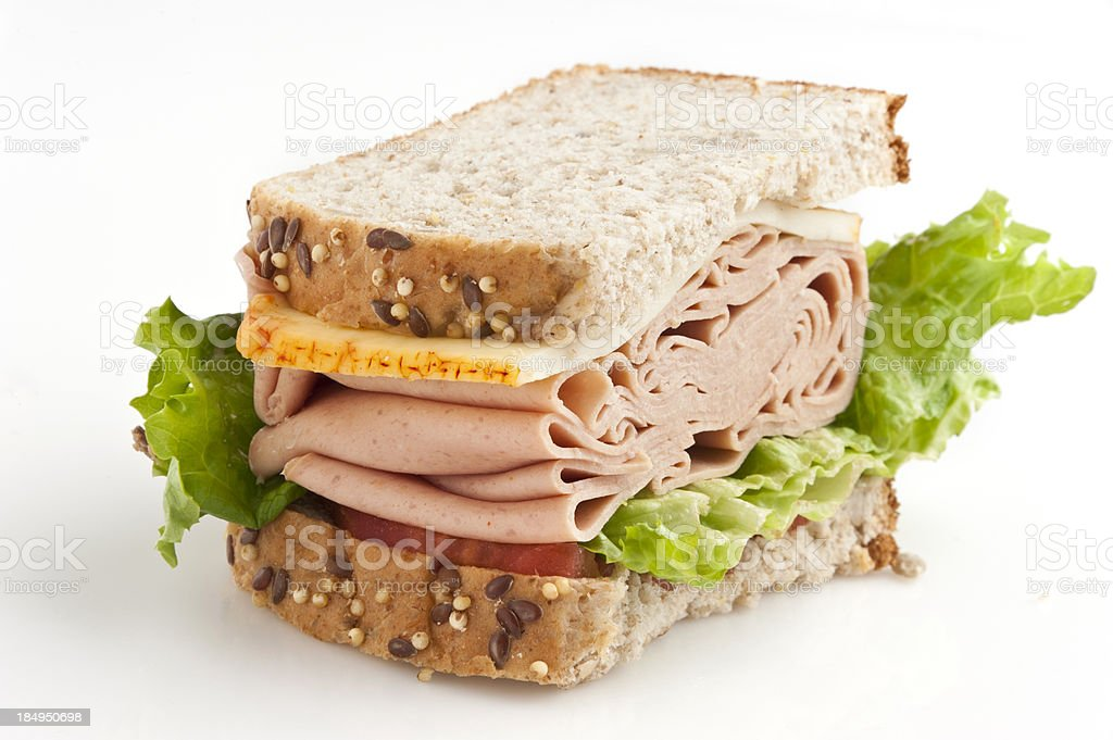 Bologna and Muenster cheese sandwich stock photo