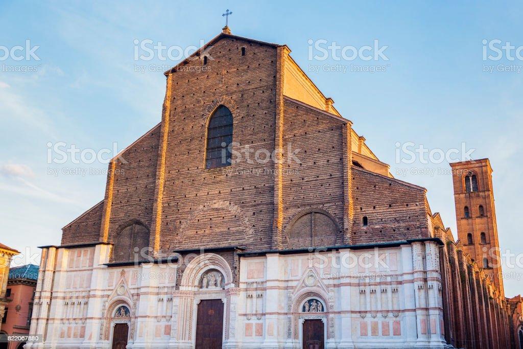 Bologna Cathedral on Piazza Maggiore in Bologna stock photo