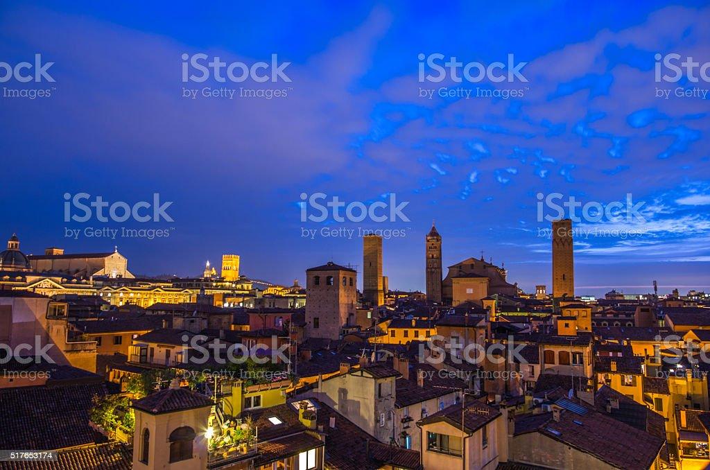 Bologna cityscape at night stock photo