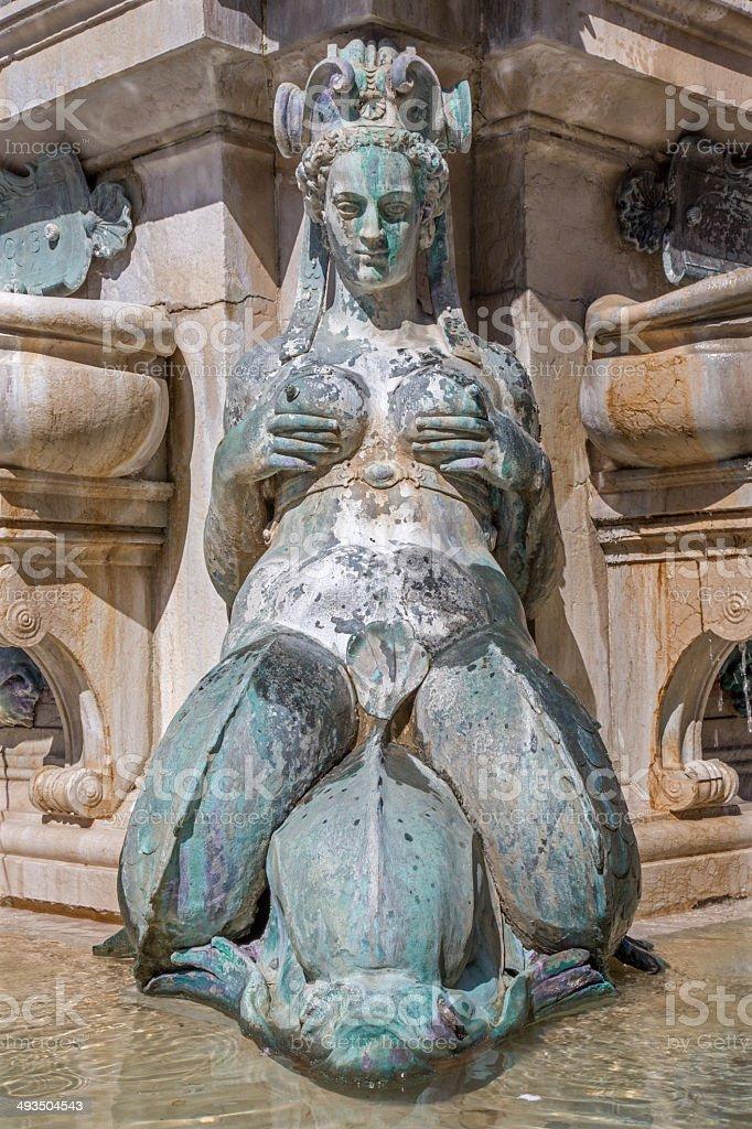 Bologna - Detail of Neptune fountain on Piazza Maggiore stock photo