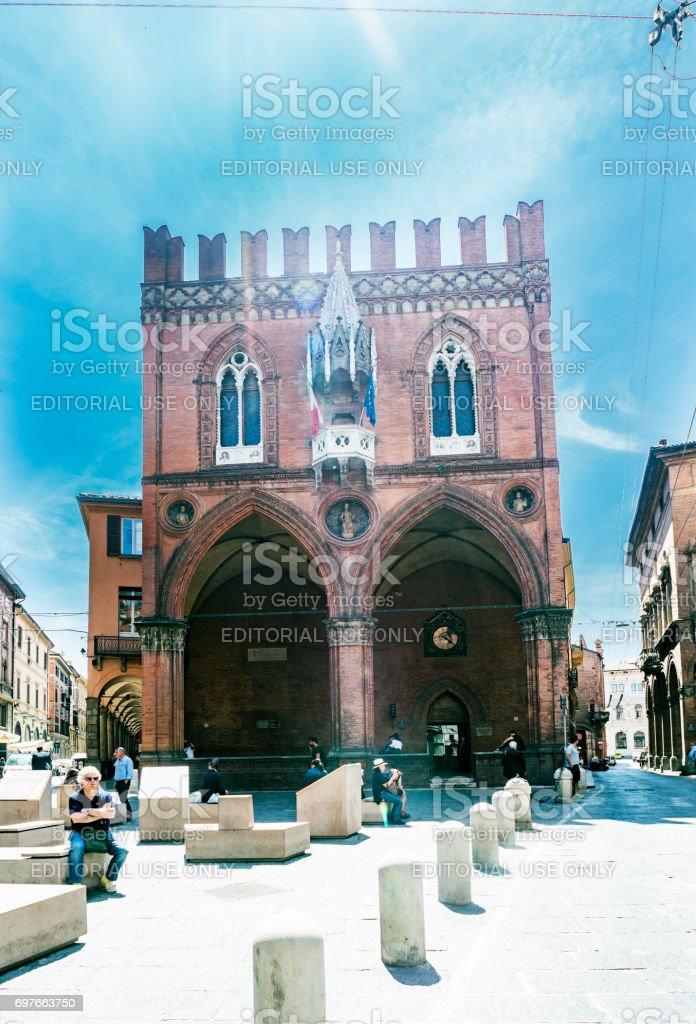 Bologna, Emilia-Romagna, Italy. May 21, 2017. Facade of the piazza called 'della Mercanzia' in the Plaza of the 'Mercanzia' stock photo
