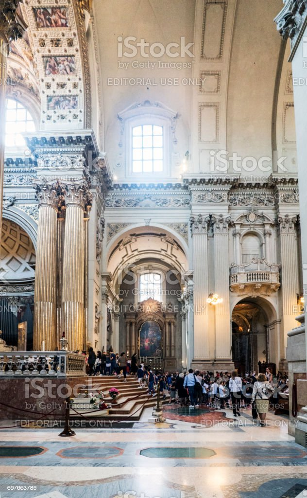 Bologna, Emilia-Romagna, Italy. May 21, 2017. Interior of the Metropolitan Cathedral Called 'San Pietro' on the street of 'Independenzia' stock photo
