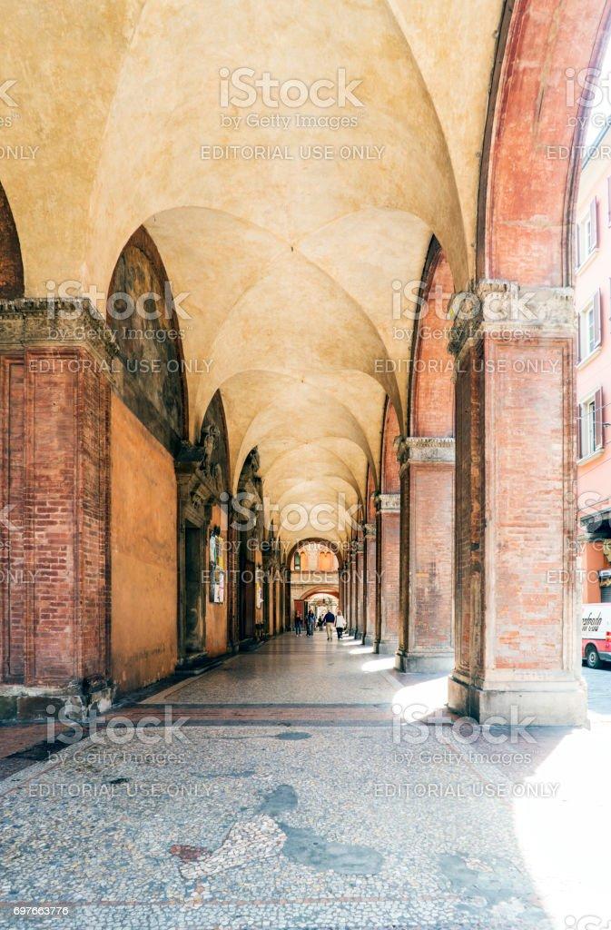 Bologna, Emilia-Romagna, Italy. May 21, 2017. Piazza Porta Ravegnana with the palace called 'della Mercanzia' in the background stock photo