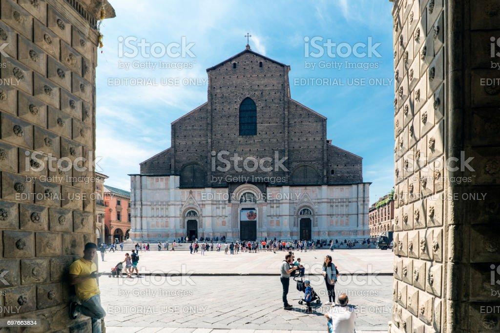 Bologna, Emilia-Romagna, Italy. May 21, 2017.View of the Basilica of San Petronio in the square 'Maggiore' stock photo