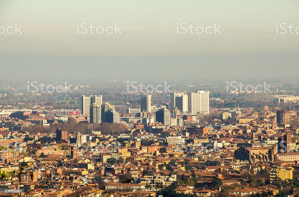 Bologna fiera district aerial view stock photo