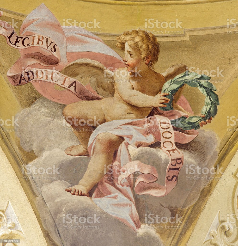 Bologna - Fresco of angel in side cupola at Dom stock photo