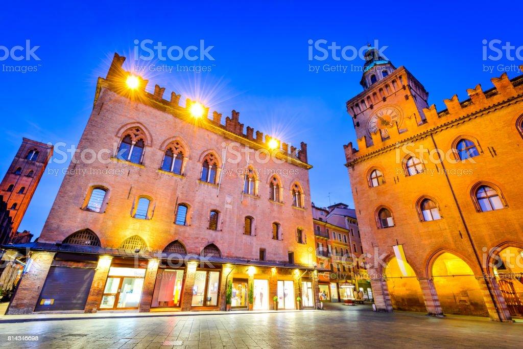 Bologna, Italy - Palazzo Comunale in Piazza Maggiore stock photo