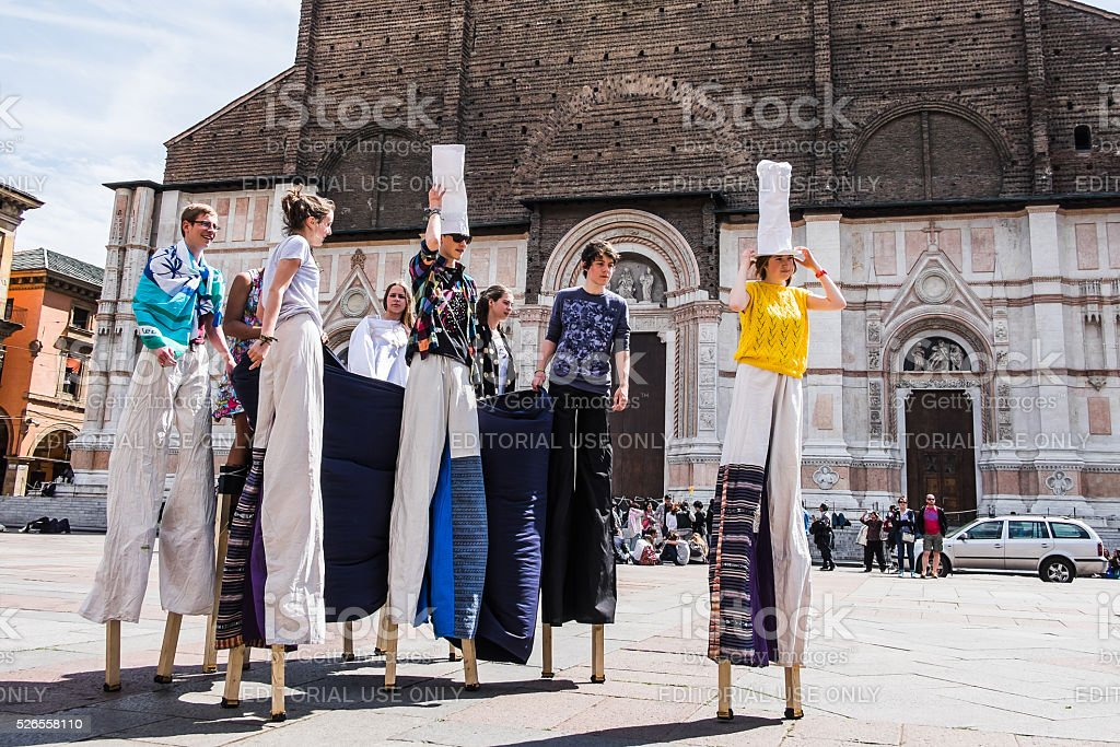 Bologna, Italy: Street musicians and performers stock photo