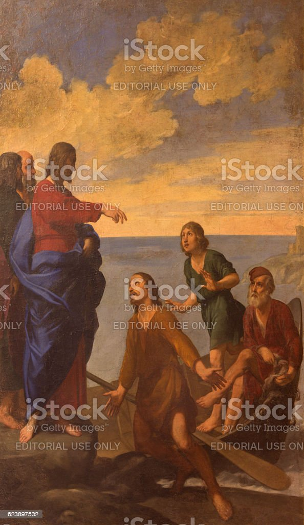 Bologna - Jesus call the Apostles St. Andrew and John stock photo