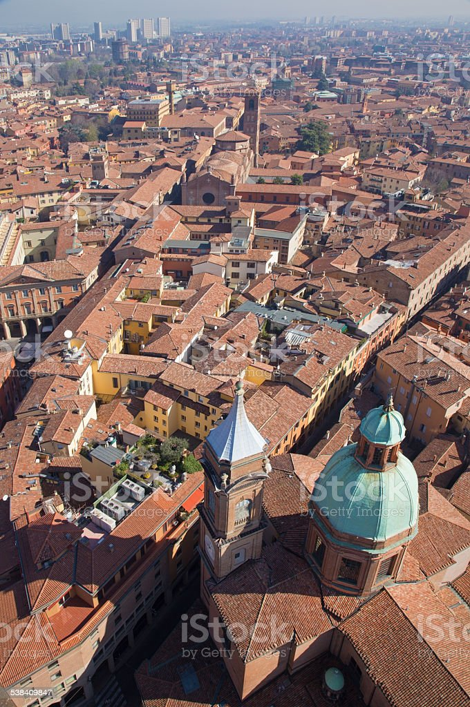 Bologna - Look down from Torre Asinelli stock photo