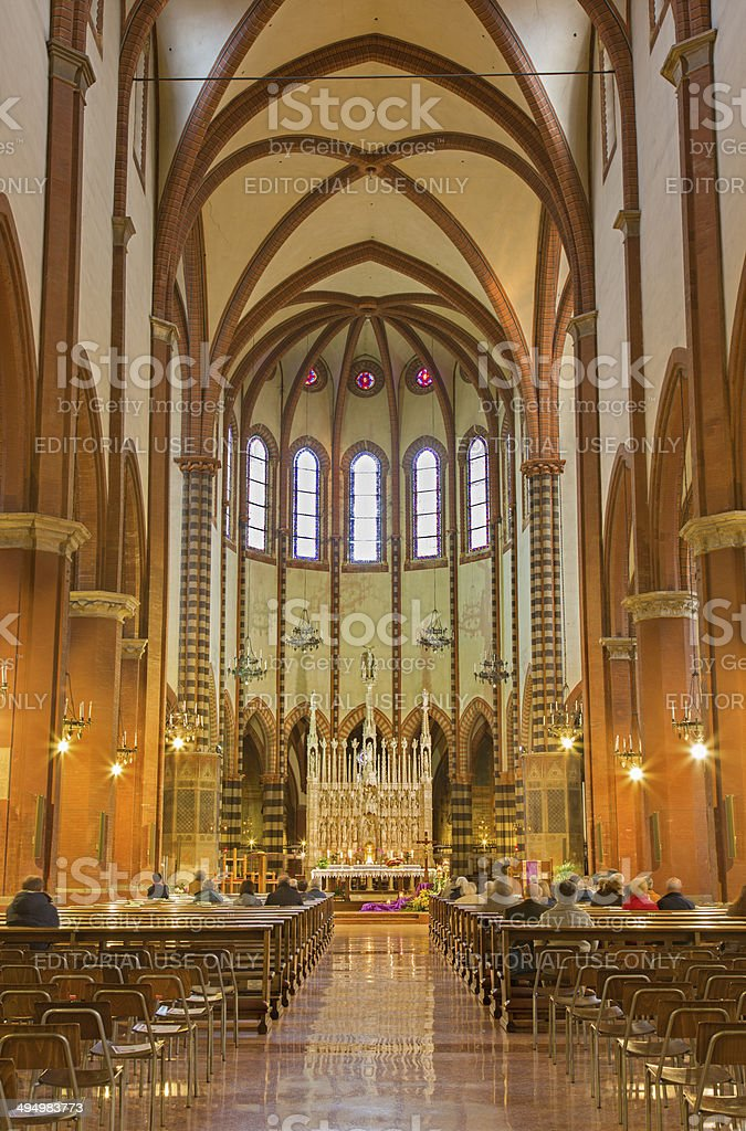Bologna - Nave of gothic church San Francesco stock photo