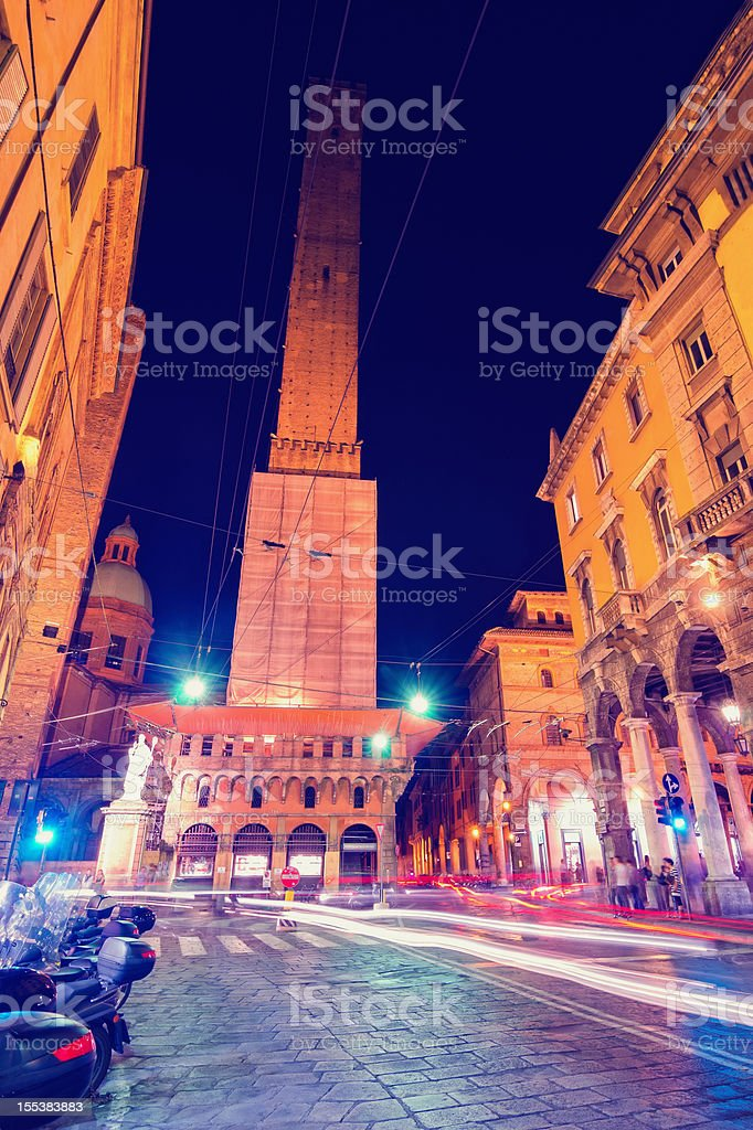 Bologna night -Torre degli Asinelli stock photo