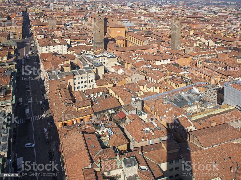 Bologna - Outlook from Torre Asinelli to Saint Peters church stock photo