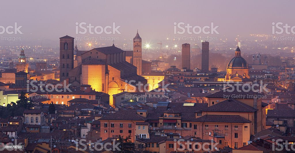Bologna - Outlook ower the old town and cathedral stock photo